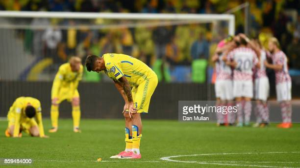 Yevhen Khacheridi of Ukraine looks dejected in defeat after the FIFA 2018 World Cup Group I Qualifier between Ukraine and Croatia at Kiev Olympic...