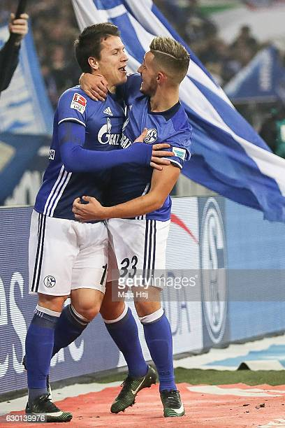 Yevhen Konoplyanka celebrates with and Donis Avdijaj after he scores the equalizing goal to make it 11 during the Bundesliga match between FC Schalke...
