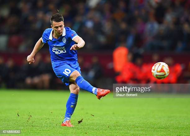Yevhen Konoplyanka of Dnipro in action during the UEFA Europa League Final match between FC Dnipro Dnipropetrovsk and FC Sevilla on May 27 2015 in...