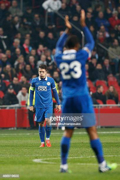 Yevhen Konoplyanka of Dnipro is congratulated by teammate Douglas Bacelar of Dnipro after scoring his team's second goal during the UEFA Europa...