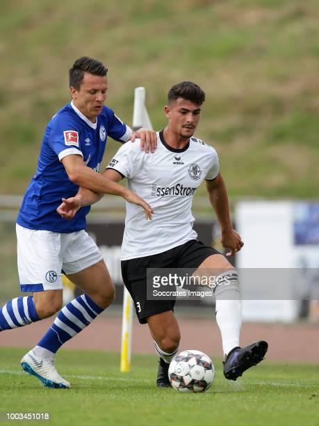 Yevhen Konoplyanka of Schalke 04 Robin Riebling of Schwarz Weiss Essen during the Club Friendly match between Schalke 04 v Schwarz Weiss Essen at the...