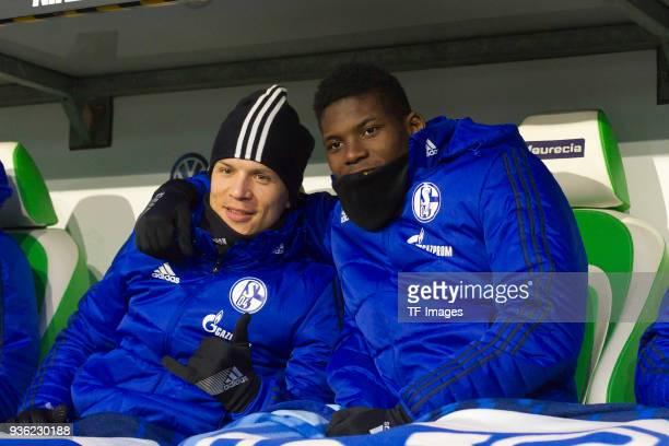 Yevhen Konoplyanka of Schalke and Breel Embolo of Schalke look on prior to the Bundesliga match between VfL Wolfsburg and FC Schalke 04 at Volkswagen...