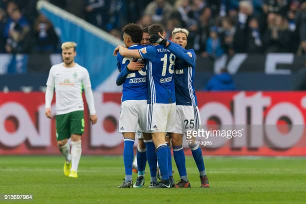 Yevhen Konoplyanka of Schalke celebrates after scoring his team`s first goal with team mates during the Bundesliga match between FC Schalke 04 and SV...