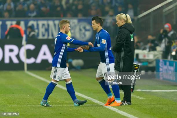 Yevhen Konoplyanka of Schalke comes on as a substitute for Max Meyer of Schalke during the Bundesliga match between FC Schalke 04 and Hertha BSC at...