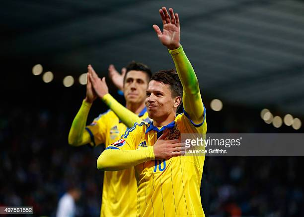 Yevhen Konoplyanka of Ukraine celebrates qualification after the UEFA EURO 2016 qualifier playoff second leg match between Slovenia and Ukraine at...