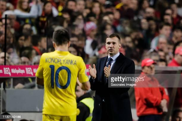 Yevhen Konoplyanka of Ukraine Coach Andriy Shevchenko of Ukraine during the EURO Qualifier match between Portugal v Ukraine at the Estádio da Luz on...