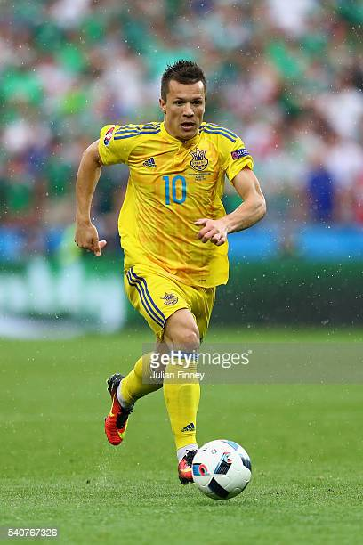 Yevhen Konoplyanka of Ukraine in action during the UEFA EURO 2016 Group C match between Ukraine and Northern Ireland at Stade des Lumieres on June 16...