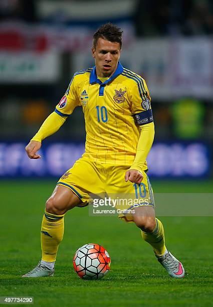 Yevhen Konoplyanka of Ukraine in action during the UEFA EURO 2016 qualifier playoff second leg match between Slovenia and Ukraine at Ljudski Vrt...
