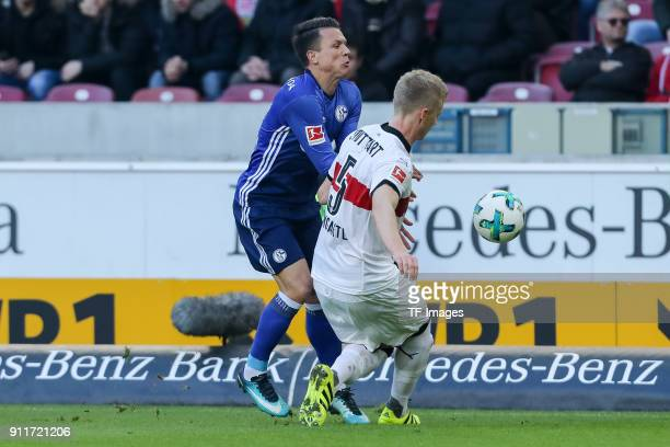 Yevhen Konoplyanke of Schalke and Timo Baumgartl of Stuttgart battle for the ball during the Bundesliga match between VfB Stuttgart and FC Schalke 04...