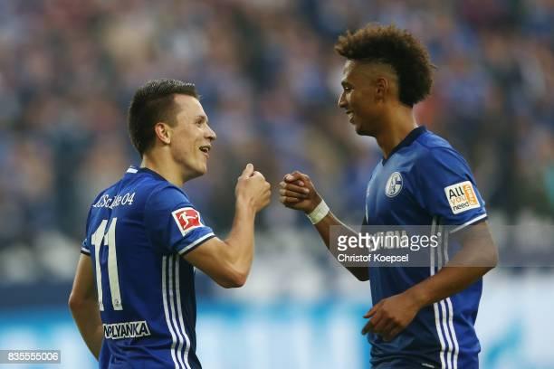Yevhen Konoplynka of Schalke celebrates his goal to make it 2:0 with Thilo Kehrer of Schalke during the Bundesliga match between FC Schalke 04 and RB...