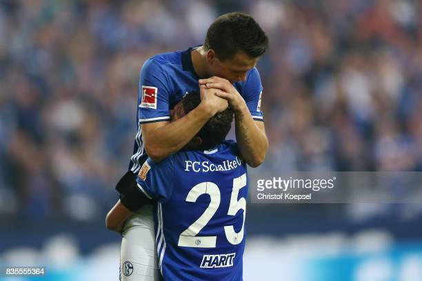 Yevhen Konoplynka of Schalke celebrates his goal to make it 20 with Amine Harit of Schalke during the Bundesliga match between FC Schalke 04 and RB...