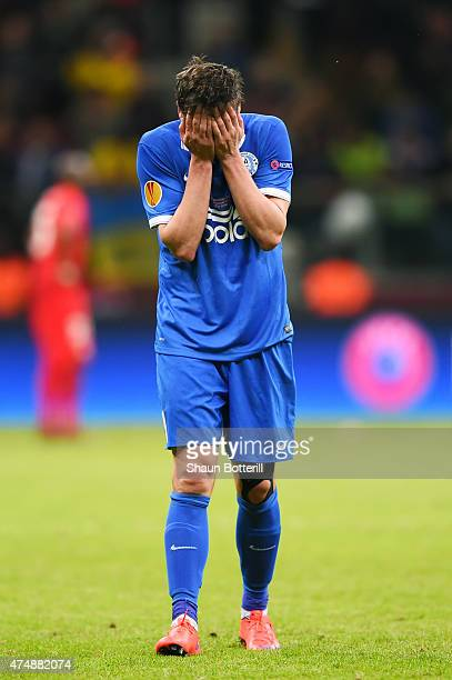Yevhen Seleznyov of Dnipro looks dejected after the UEFA Europa League Final match between FC Dnipro Dnipropetrovsk and FC Sevilla on May 27, 2015 in...