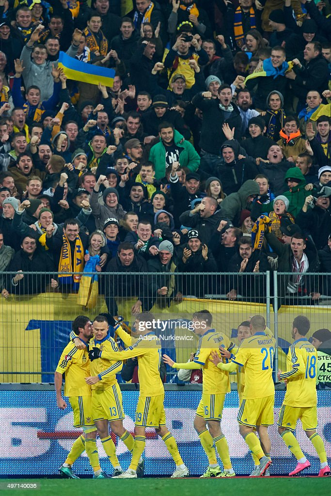 Yevhen Seleznyov of Ukraine celebrates with team mates after scoring during the UEFA EURO 2016 Play-off for Final Tournament, First leg between Ukraine and Slovenia at Lviv Arena on November 14, 2015 in Lviv, Ukraine.