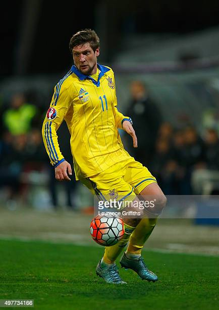 Yevhen Seleznyov of Ukraine in action during the UEFA EURO 2016 qualifier playoff second leg match between Slovenia and Ukraine at Ljudski Vrt...