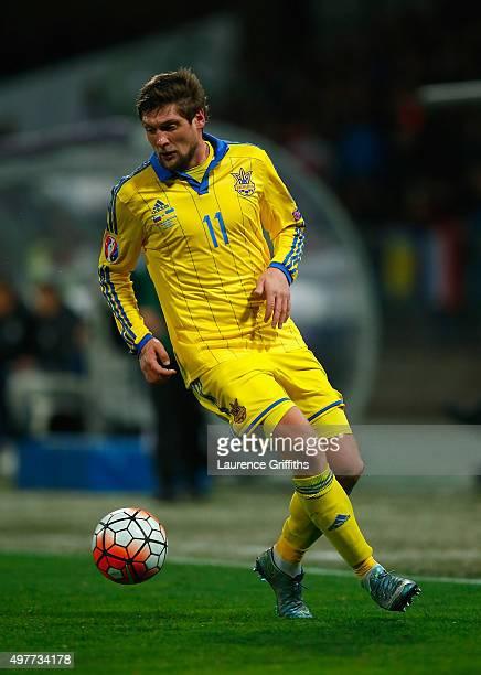 Yevhen Seleznyov of Ukraine in action during the UEFA EURO 2016 qualifier playoff second leg match between Slovenia and Ukraine at Ljudski Vrt...