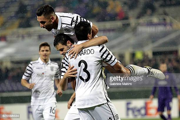 Yevhen Shakhov of PAOK FC celebrates after scoring a goal during the UEFA Europa League match between ACF Fiorentina and PAOK FC at Stadio Artemio...