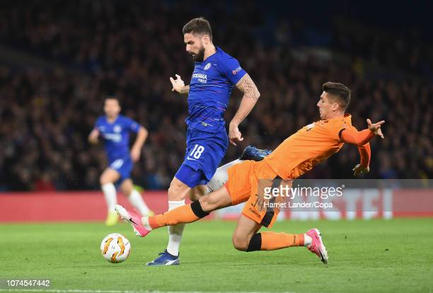 Yevhen Shakhov of PAOK FC fouls Olivier Giroud of Chelsea, leading to him being awarded a red card during the UEFA Europa League Group L match...