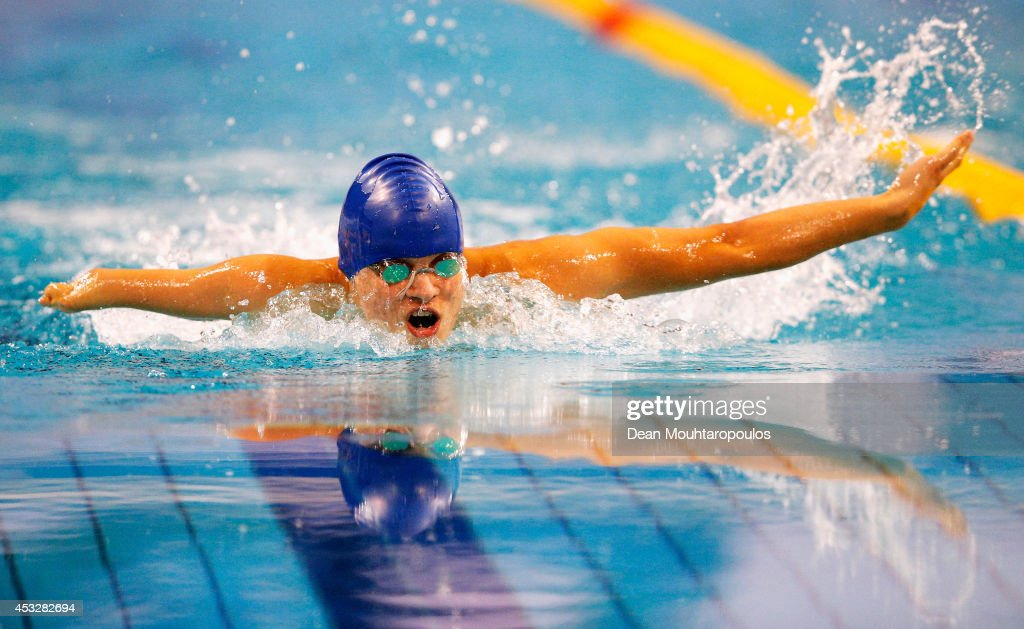 Yevheniy Bohodayko of the Ukraine competes in the Men's 200m Individual Medley SM7 Final during the IPC Swimming European Championships held at the Pieter van den Hoogenband Swimming Stadium on August 6, 2014 in Eindhoven, Netherlands.