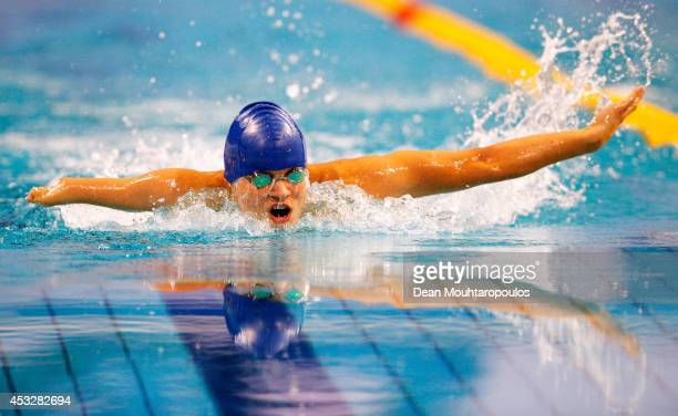 Yevheniy Bohodayko of the Ukraine competes in the Men's 200m Individual Medley SM7 Final during the IPC Swimming European Championships held at the...
