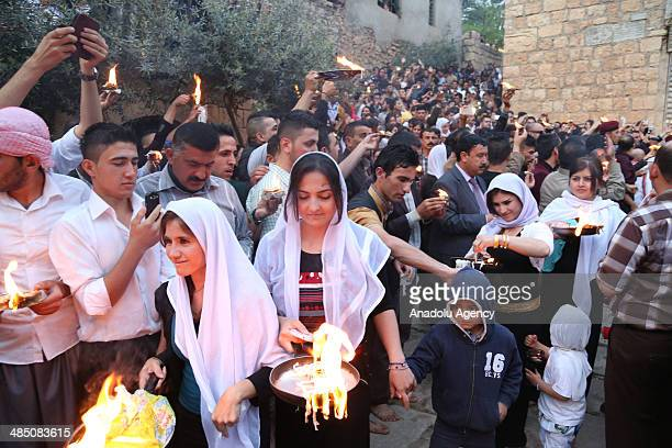 Yezidis celebrate their New Year in Dohuk, Iraq, on April 16, 2014. The ceremony started in Lalish Temple, the main Yezidi temple , and the candles...