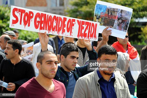 Yezidis living in Belgium take part in a demonstration at Schuman Square to protest the attacks of Islamic State in Iraq on August 13 2014 in...