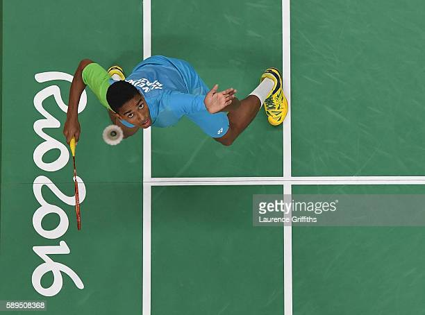 Ygor Coelho de Oliveira of Brazil in action during his Badminton Mens Singles match against Marc Zwiebler of Germany on Day 9 of the Rio 2016 Olympic...