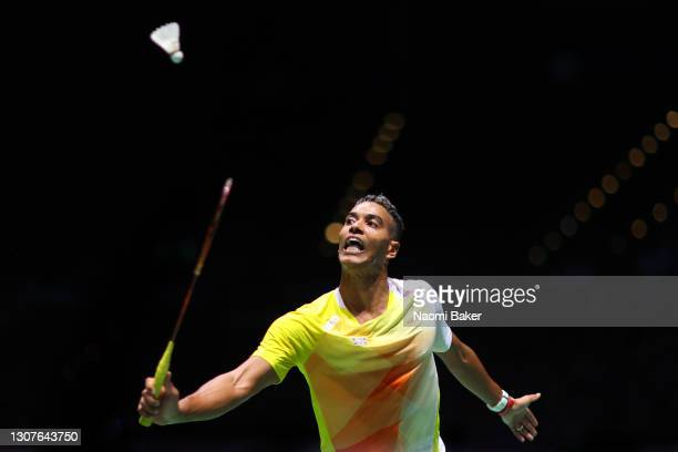 Ygor Coelho of Brazil in action during his first round match against Sameer Verma of India during day one of YONEX All England Open Badminton...