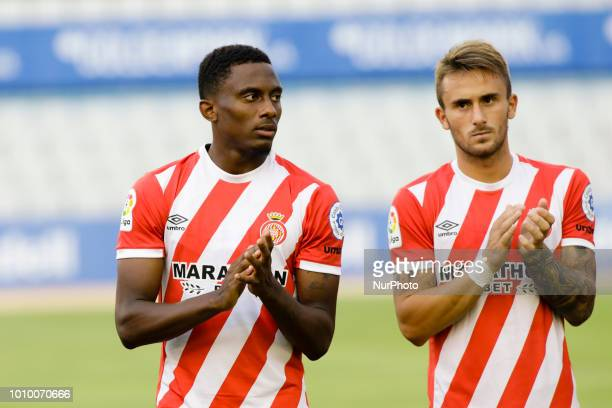26 Yhoan Andzouana from Republica del Congo and 23 Aleix Garcia from Spain of Girona FC during the friendly game against the CE Sabadell of the...