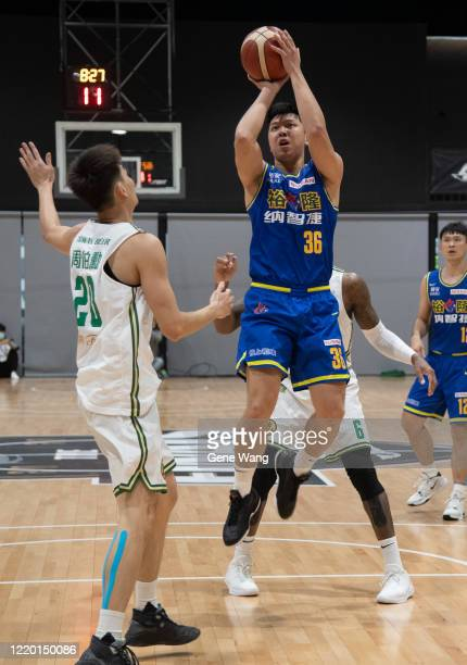 Yi Hui Lin of Yulon Luxgen Dinos attempt to jump shot during the SBL Finals Game One between Taiwan Beer and Yulon Luxgen Dinos at Hao Yu Trainning...