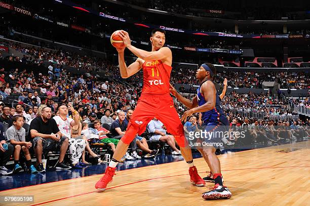 Yi Jianlian of China handles the ball against the USA Basketball Men's National Team on July 24 2016 at STAPLES Center in Los Angeles California NOTE...