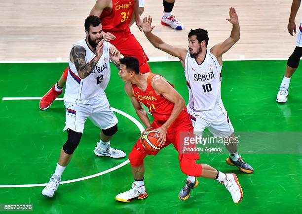 Yi Jianlian of China in action during the men's preliminary round group A match between China and Serbia on Day 9 of the Rio 2016 Olympic Games at...