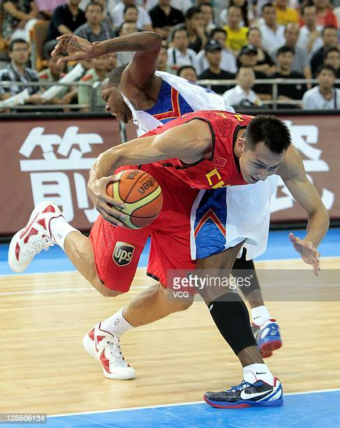 Yi Jianlian of China in action in the match between China and Pilipinas during the FIBA Asia Championship at Wuhan Sports Center on September 16 2011...
