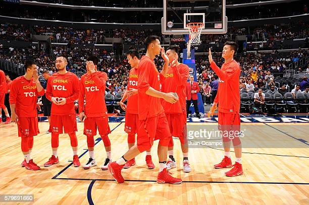 Yi Jianlian of China is introduced before the game against the USA Basketball Men's National Team on July 24 2016 at STAPLES Center in Los Angeles...