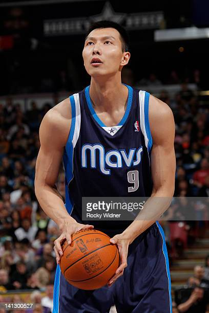 Yi Jianlian of the Dallas Mavericks shoots a free throw shot against the Sacramento Kings on March 09 2012 at Power Balance Pavilion in Sacramento...