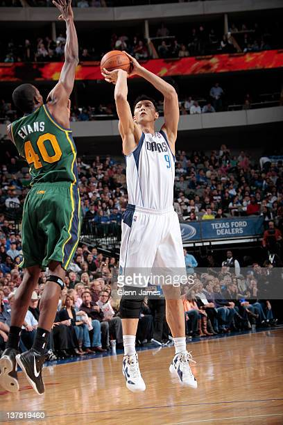 Yi Jianlian of the Dallas Mavericks shoots a jumper against Jeremy Evans of the Utah Jazz on January 27 2012 at the American Airlines Center in...