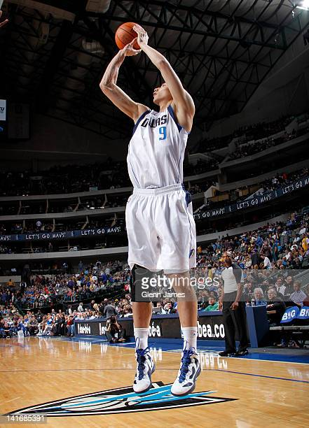 Yi Jianlian of the Dallas Mavericks shoots a jumper against the Los Angeles Lakers on March 21 2012 at the American Airlines Center in Dallas Texas...