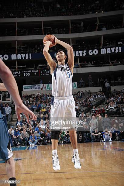 Yi Jianlian of the Dallas Mavericks shoots against the Minnesota Timberwolves on January 25 2012 at the American Airlines Center in Dallas Texas NOTE...