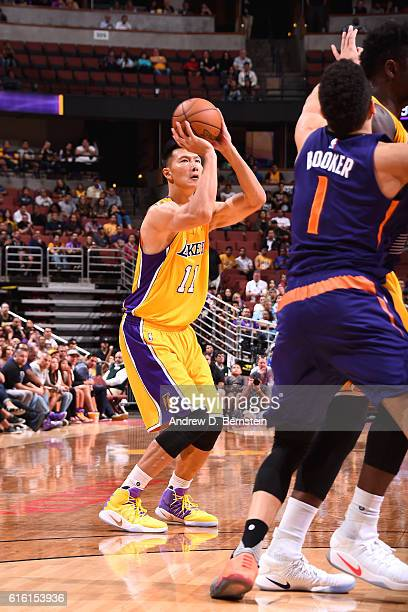 Yi Jianlian of the Los Angeles Lakers shoots the ball against the Phoenix Suns during a preseason game on October 21 2016 at Honda Center in Anaheim...