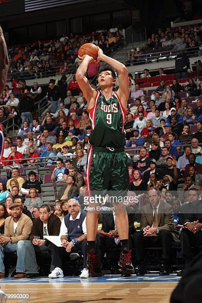 Yi Jianlian of the Milwaukee Bucks shoots a jump shot during the game against the Detroit Pistons at the Palace of Auburn Hills on February 22, 2008...