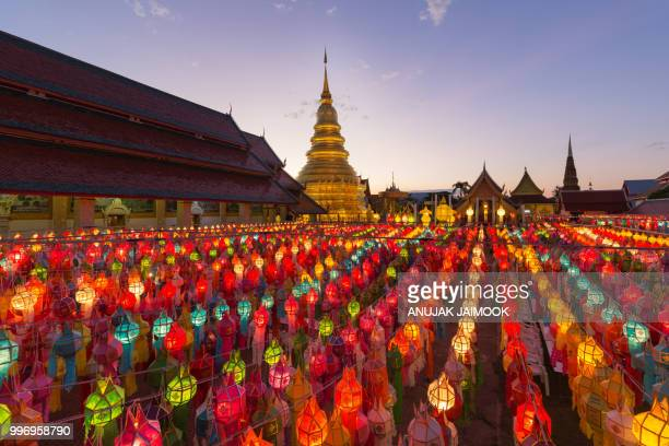 yi peng festival in chiang mai, thailand - yi peng stock pictures, royalty-free photos & images