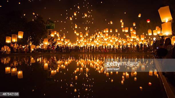 yi peng lantern festival - yi peng stock pictures, royalty-free photos & images