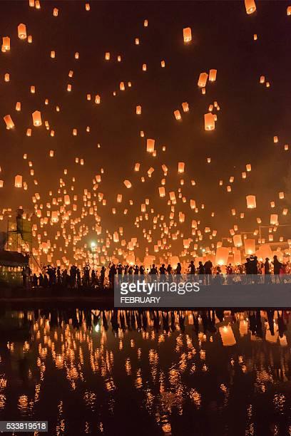 yi peng sky lantern festival - loi krathong stock photos and pictures