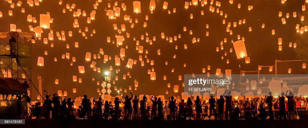 Yi Peng Sky Lantern Festival : Stock Photo