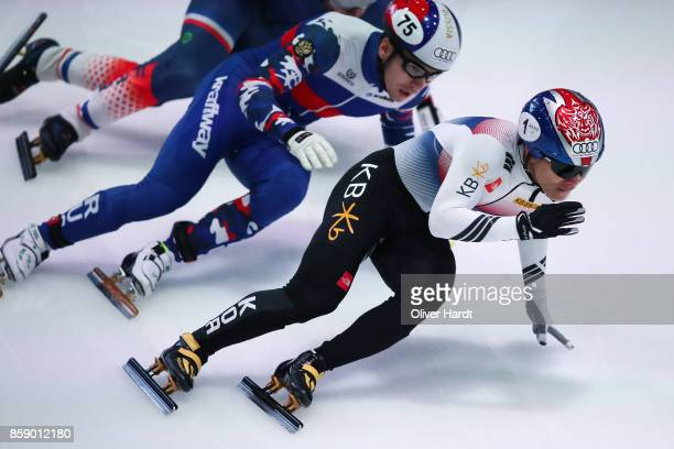 Yi Ra Seo of Korea competes in the Mens 1000m quarter finals race during the Audi ISU World Cup Short Track Speed Skating at Optisport Sportboulevard...