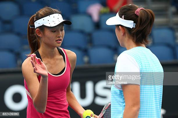 Yi Tsen Cho and Joanna Garland of Taipei compete in their first round match against Anri Nagata of Japan and Thasaporn Naklo of Thailand during the...