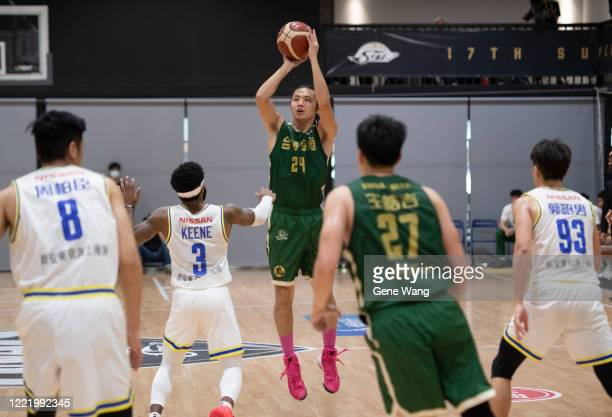Yi Tsung Chu of Taiwan Beer made a three point shot during the SBL Finals Game Six between Taiwan Beer and Yulon Luxgen Dinos at Hao Yu Trainning...