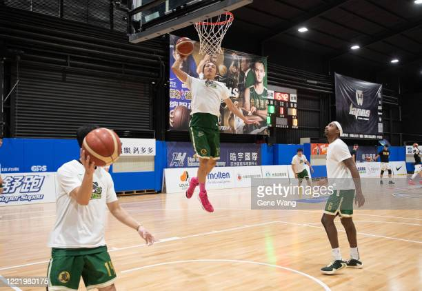 Yi Tsung Chu of Taiwan Beer practices prior to the SBL Finals Game Six between Taiwan Beer and Yulon Luxgen Dinos at Hao Yu Trainning Center on April...