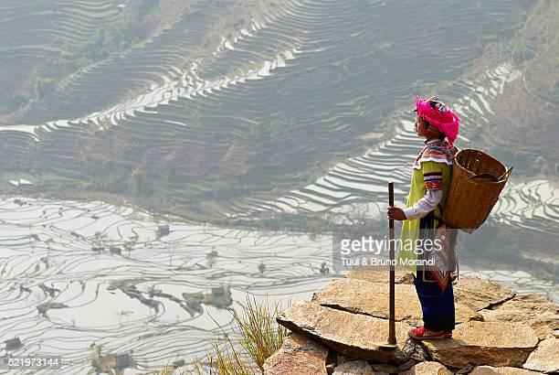 Yi woman overlooking terraced paddy-fields in Yuanyang