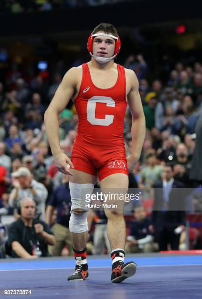 Yianni Diakomihalis of the Cornell Big Red after winning the 141 pound championship during session six of the NCAA Wrestling Championships on March...