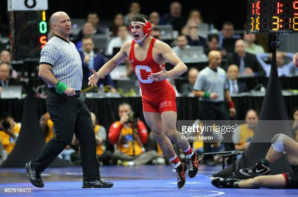 Yianni Diakomihalis of the Cornell Big Red reacts after defeating first seeded Dean Heil of the Oklahoma State Cowboys during session three of the...